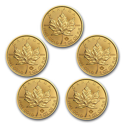 Bank Wire Payment. 2018 Canada 1 oz Gold Maple Leaf BU (Lot of 5) - SKU #162741