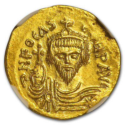 Byzantine Gold Solidus Emperor Phocas (602-610 AD) MS NGC - SKU#161326