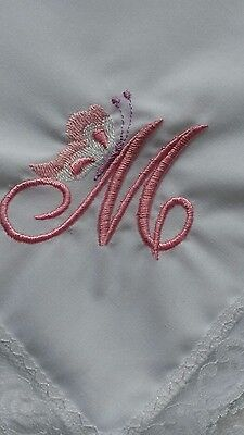 New white cotton ladies hanky with beautiful lace edging and initial in corner
