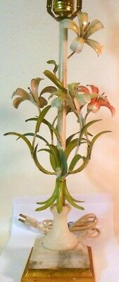 Vtg TOLE Metal Lamp Italy LILIES Botanicals Marble Garden CHIC!
