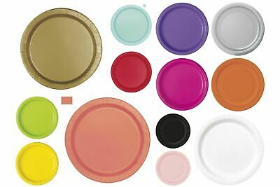 Disposable Round Paper Plates - Solid Colour Party/Wedding/Christening/Catering