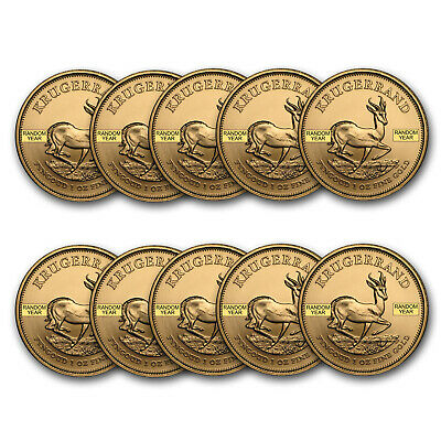 Bank Wire Payment. South Africa 1 oz Random Gold Krugerrand Lot of 10