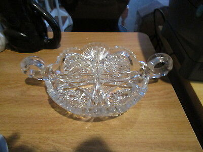 American Brilliant Period ABP Cut Glass 4 Section Candy Dish w/2 Handles