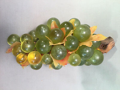 """Vintage MCM Milky Green & Yellow Lucite Grapes Cluster w/ Plastic Leaves 11""""  A"""