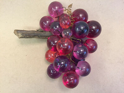 """Vintage MCM Purple & Pink Lucite Grapes Cluster Attached to Driftwood 11""""   B"""