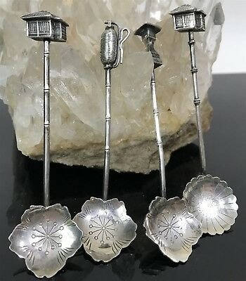 Vtg Sterling Silver 950 Chinese Figural Salt Spoons Set of 4