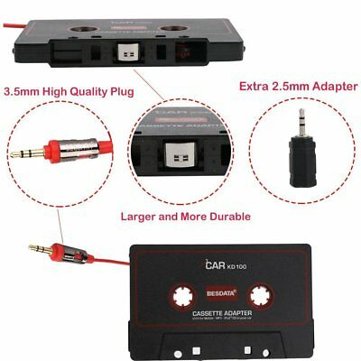 BESDATA Universal Car Cassette Player Adapter with 3.5mm Male Jack and 2.5mm Plu