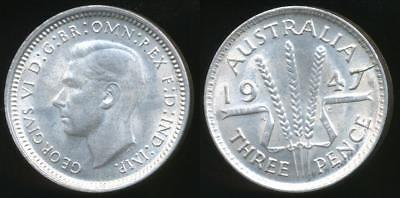 Australia, 1947 Threepence, 3d, George VI (Silver) - Uncirculated