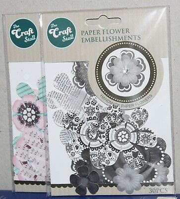 2 Packs Of Paper Handmade Flower Embellishments The Craft Stall 60pcs
