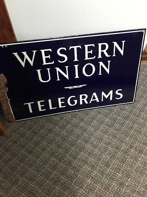 Excellent ANTIQUE WESTERN UNION DBL SIDED PORCELAIN SIGN  Telegraph