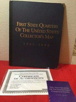 First State Quarters Of The United States Collector's Map W/50 Coins 1999-2008