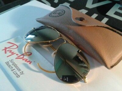 VINTAGE B&L AVIATOR RAY-BAN GOLD DOUBLE MIRROR G-15 58mm W/CASE
