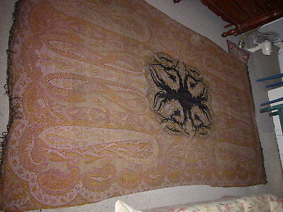 Antique Paisley Table Cover, Persian, Indian, Kashmir Large 124'' x 62'' REVISED