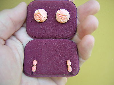 2 Pair Of Vintage Carved Natural Red Salmon Coral Earrings