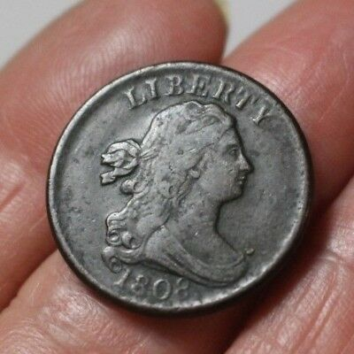 1808 Draped Bust Half Cent Fine Second Reverse Normal Date
