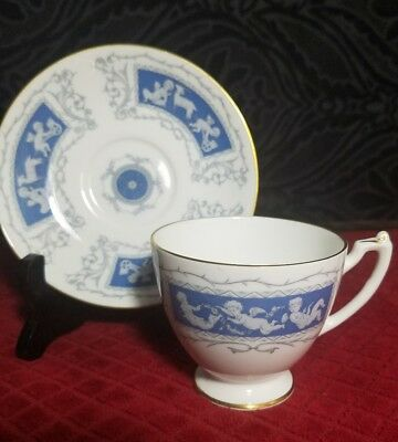"""Coalport REVELRY Blue Smooth Edge Odd Saucer 4-3//4/"""" for Canton Cup"""
