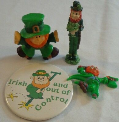Saint Patrick's Day Leprechaun Pin Figure Lot Hallmark Hong Kong Russ Vintage St