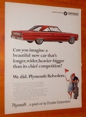 Sexy Red 1966 Plymouth Belvedere Coupe Simple Vintage Ad - American Retro Mopar