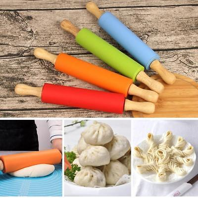 Wooden Handle Silicone Rolling Pin Dough Pastry Roller Baking Tools 29.5x2CM