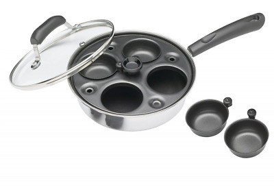 """Kitchen Craft Induction Carbon Steel 4 Hole Egg Poacher Pan and Cups 21cm 8.5"""""""