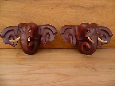 Vintage Old Timber Carved African Elephants Wall Hangings 'pair' (A191)