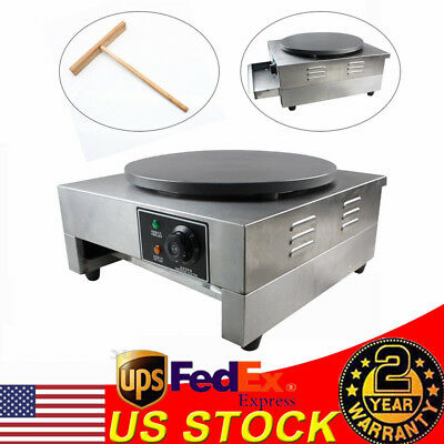 "16"" Commercial Electric Crepe Maker Pancake Machine Single Hotplate Non Stick US"