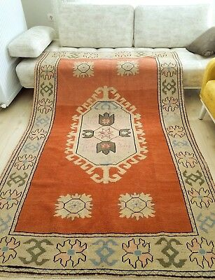 """Genuine Antique Cr1930-1949s 4'7""""×7'5"""" Muted Colors Natural Dyes Oushak Rug"""