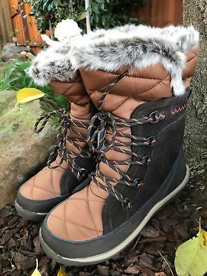 NEW!~Bearpaw Snow BOOTS Waterproof~Cold Weather Fur Whitney Black/Brown Womens 7