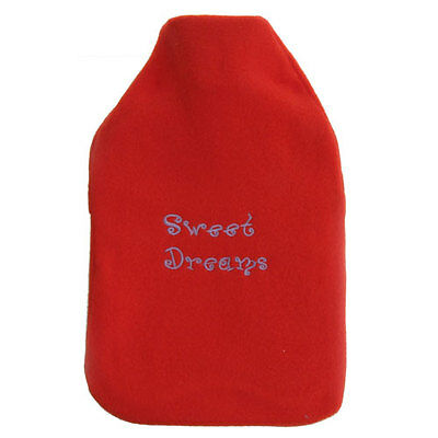 Hot Water Bottle with Cover Rubber Fleece Cosy Gift 2 Litre Red Sweet Dreams
