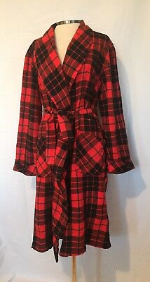 Vintage Red Black Plaid Wool Blend Robe Viyella Baltmans Smoking Jacket Sz Large