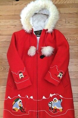 Vintage Northern Sun  Red Wool Yukon Canadian Jacket Coat  Small Made in Canada