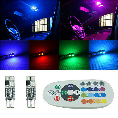 2StkT10 RGB Multi Colors Neu Changing LED Car Interior Lamp-with Remote Control