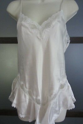 Vintage LINGERIE Cream Teddy Snap Crotch Lace Satin M Tap Pants made for WOOLITE