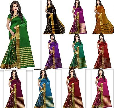 Designer saree pakistani indian Bollywood traditional cotton silk sari colorful