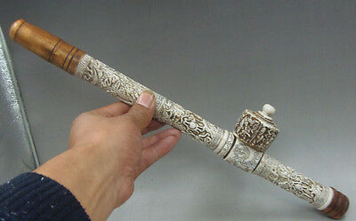 Rare Collectibles Decorated Chinese handwork Carved Dragon old long smoking pipe