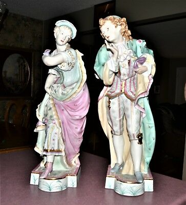 "Antique LARGE 18"" French Porcelain Masquerade Vion & Baury Statues Bisque 19th C"