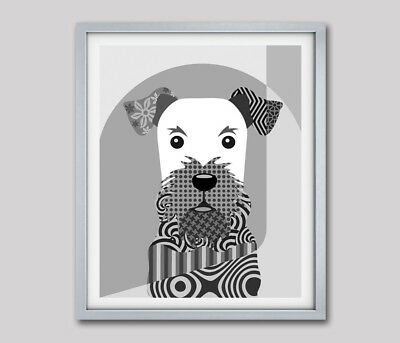 Poster Airedale Terrier B&W Dog Pop Art Print Puppy Animal Lover Gift Decoration