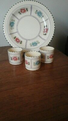 3 Egg Cups & Plate Honiton Pottery Hand Painted