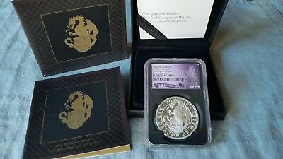 2018 Queens Beasts RED DRAGON OF WALES Silver PROOF NGC PF70 UC Early Releases.