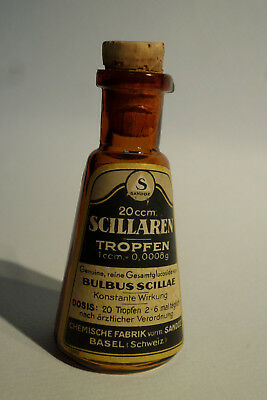 Scillarene Gouttes. Small brown pharmacy dropper container with a corck