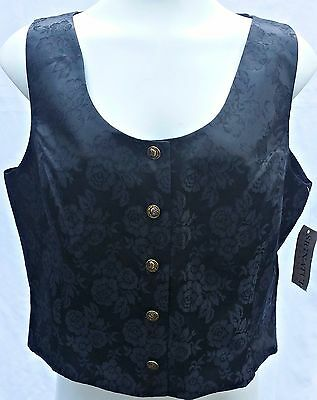 Signature Expressions Women's Vest Medium NWT Black Floral Brocade Button Front