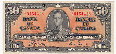 1937 Bank of Canada $50 Serial #B/H0154418 Gordon - Towers Signatures