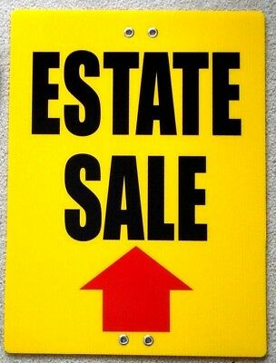 ESTATE SALE ARROW POINTING UP 18x24 Coroplast Sign TIE TO TREE POLE POST FENCE y