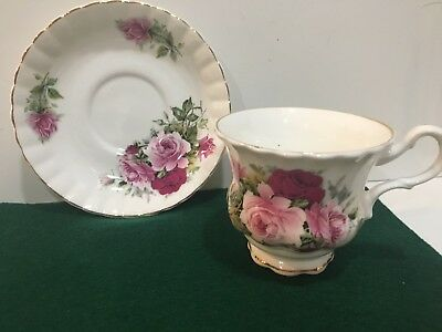Crown Dorset Staffordshire Bone China Gold Trim Tea Cup & Saucer Roses England