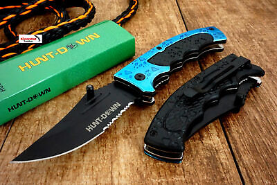 "8"" Hunt-Down Blue Tiger Claw Spring Assisted Open Tactical Pocket Knife Folding"