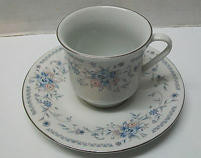 Teacup Saucer Blue and Pink Flowers Silver Trim Vintage