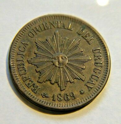 Uruguay 2 Centesimos 1869-A - Bronze  - High Grade - Sun Face