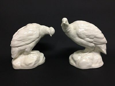 Pair Vintage Mintons Salt-Glaze Quail 18th Century Staffordshire Copy