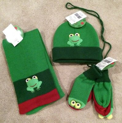 KIDORABLE FROG HAT & SCARF & MITTENS SET OUTERWEAR MEDIUM (AGE 4-7) with TAGS