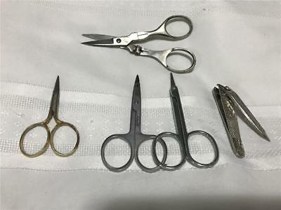 Rare Set Antique Mix Lot Shaving Vanity & Sewing Tiny Swiss Scissors & Clippers
